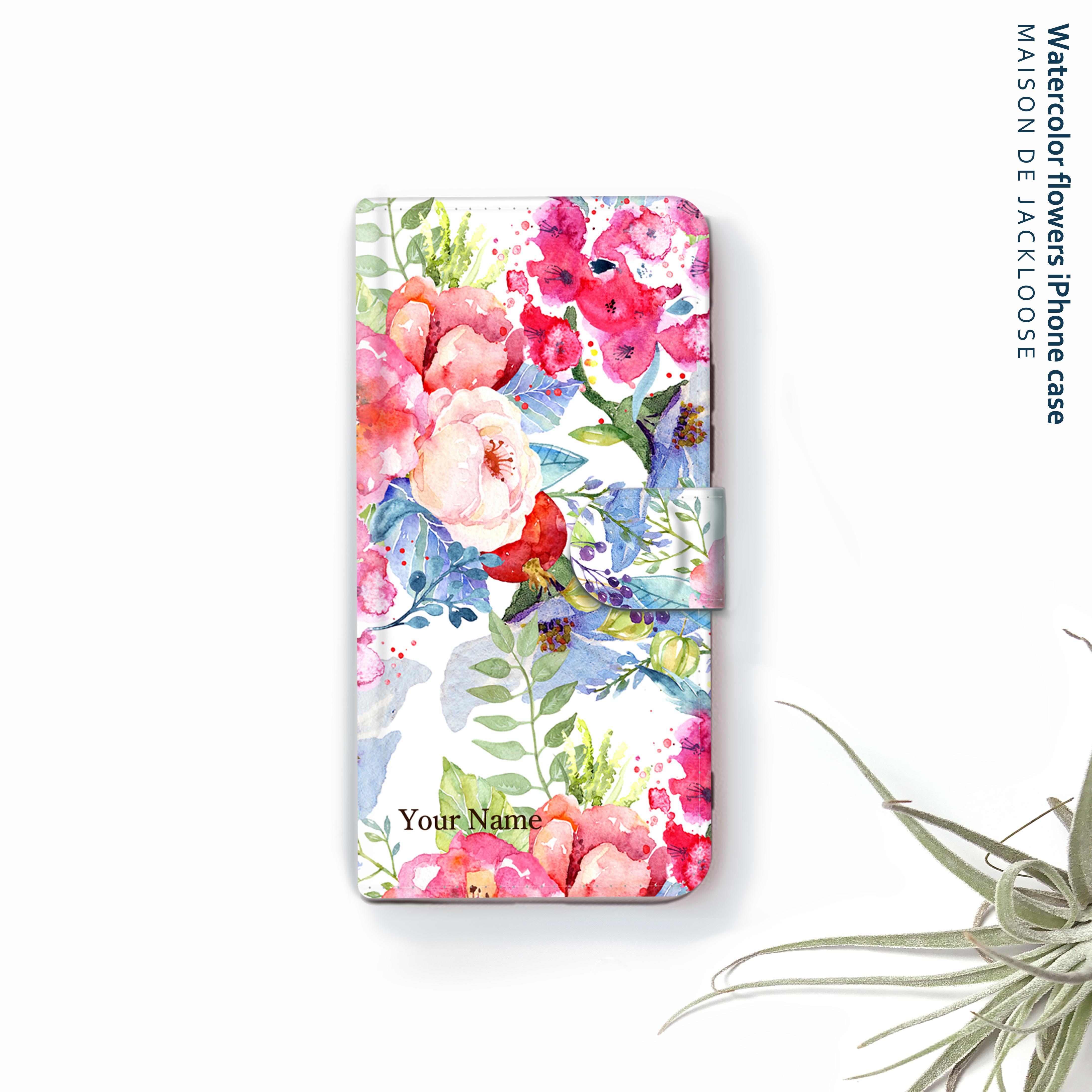 Watercolor  色鮮やかフラワー・お名前入れ【iPhone Androidスマホケース・全機種対応 専用カメラホール】