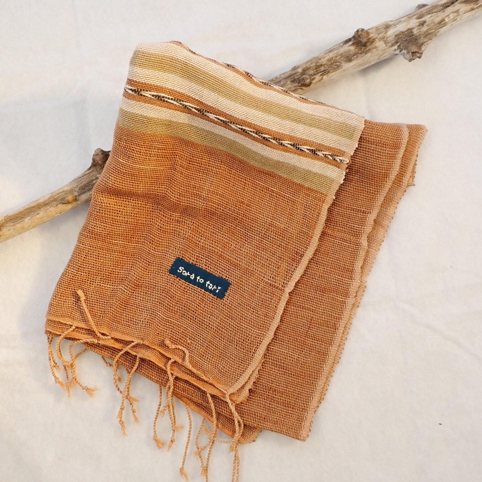チェンマイ 草木染め手織りストール 茶