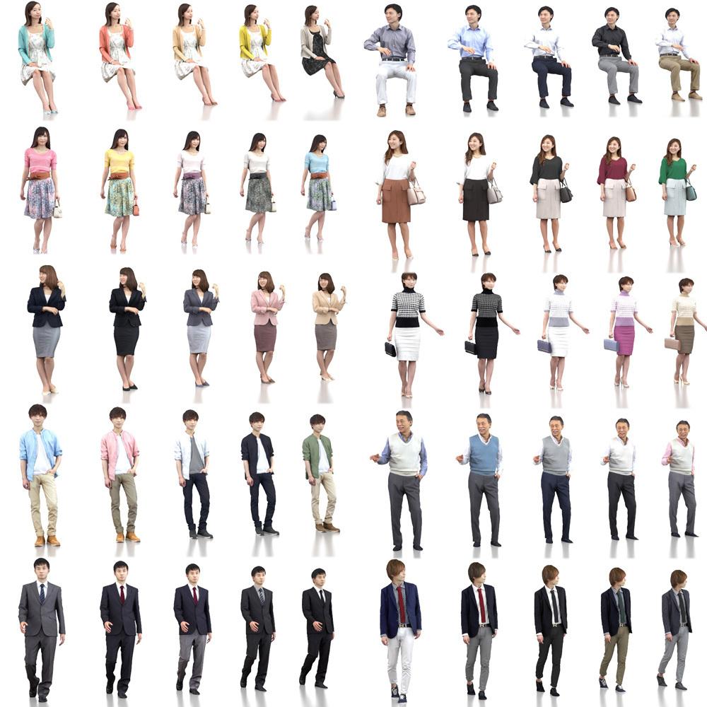 SketchUp素材 3D人物素材-ポーズド 10個セット 001_Posed-set - 画像3
