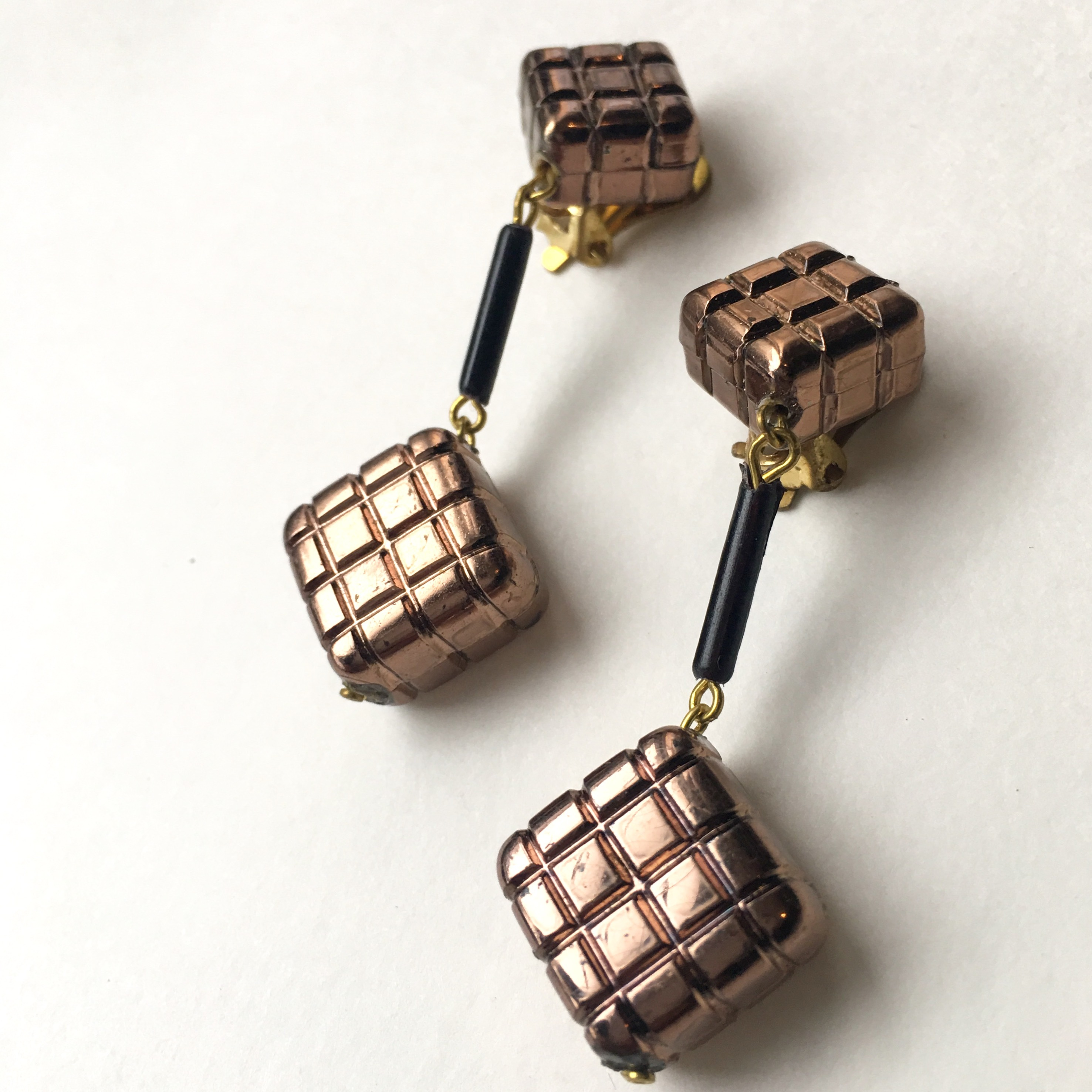 Grid square earring No.603