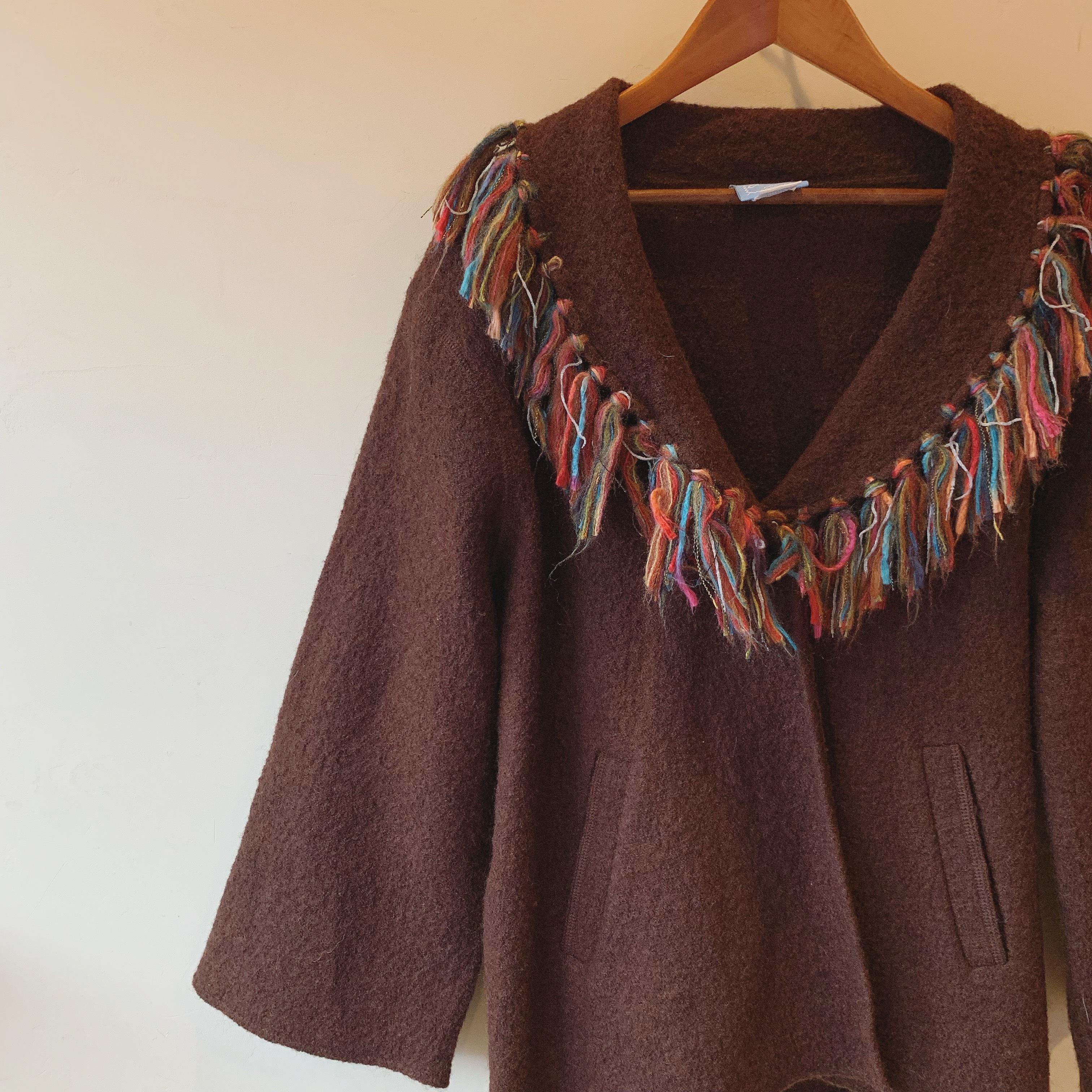 vintage fringe wool outer