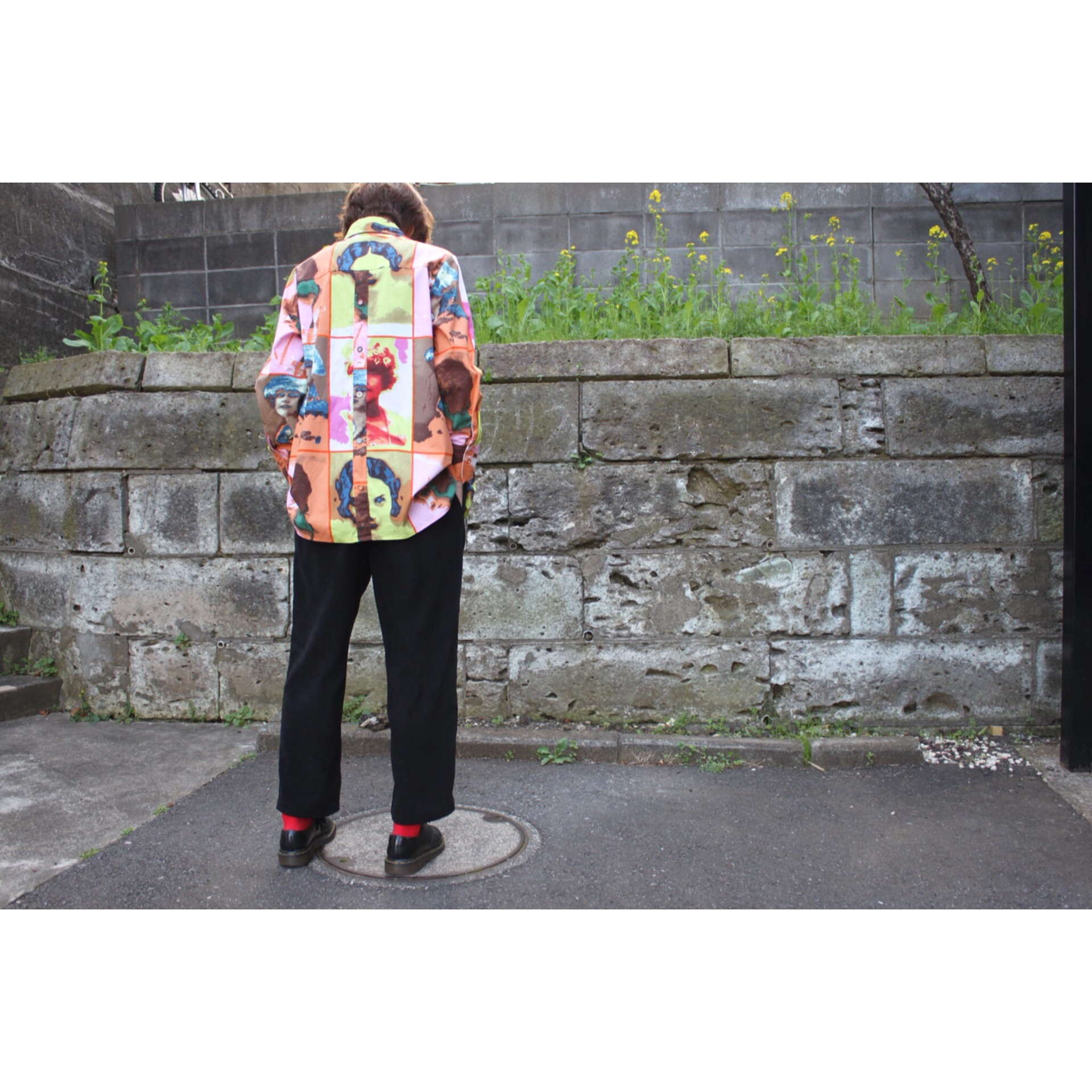 Vintage colorful face pattern shirt