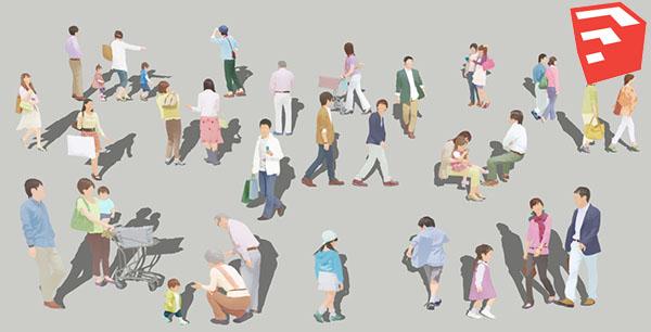 人物イラストSketchUp淡色 4a_001 - 画像2