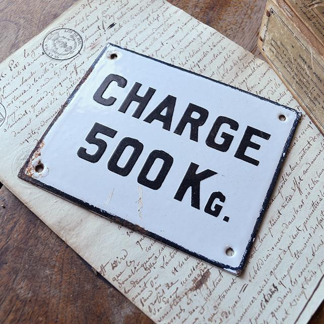 ホーロープレート CHARGE 500KG