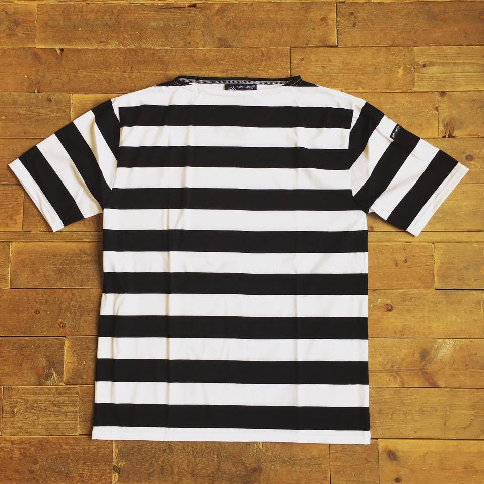 SAINT JAMES(セントジェームス) PIRIAC 薄手Tシャツ WIDE BORDER NEIGE/NOIR 白×黒