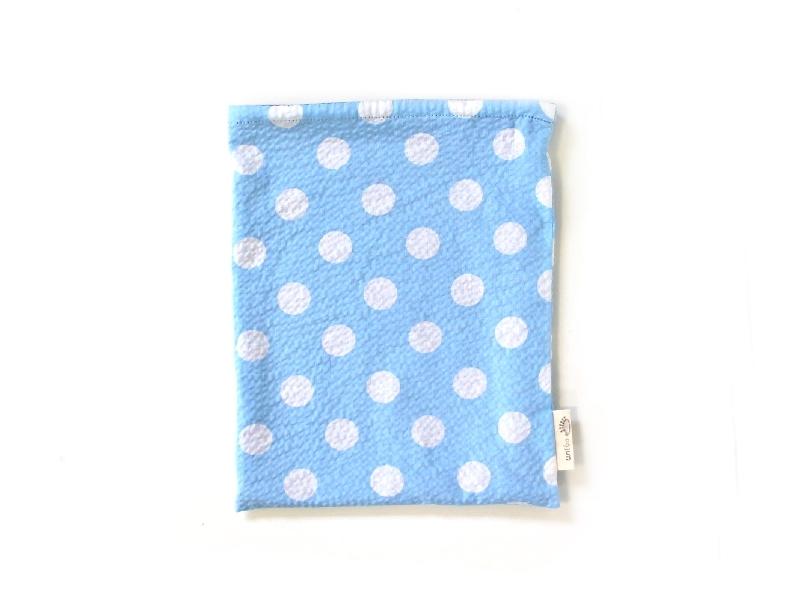ハリネズミ用寝袋 M(夏用) 綿リップル×スムースニット 水玉 スカイブルー