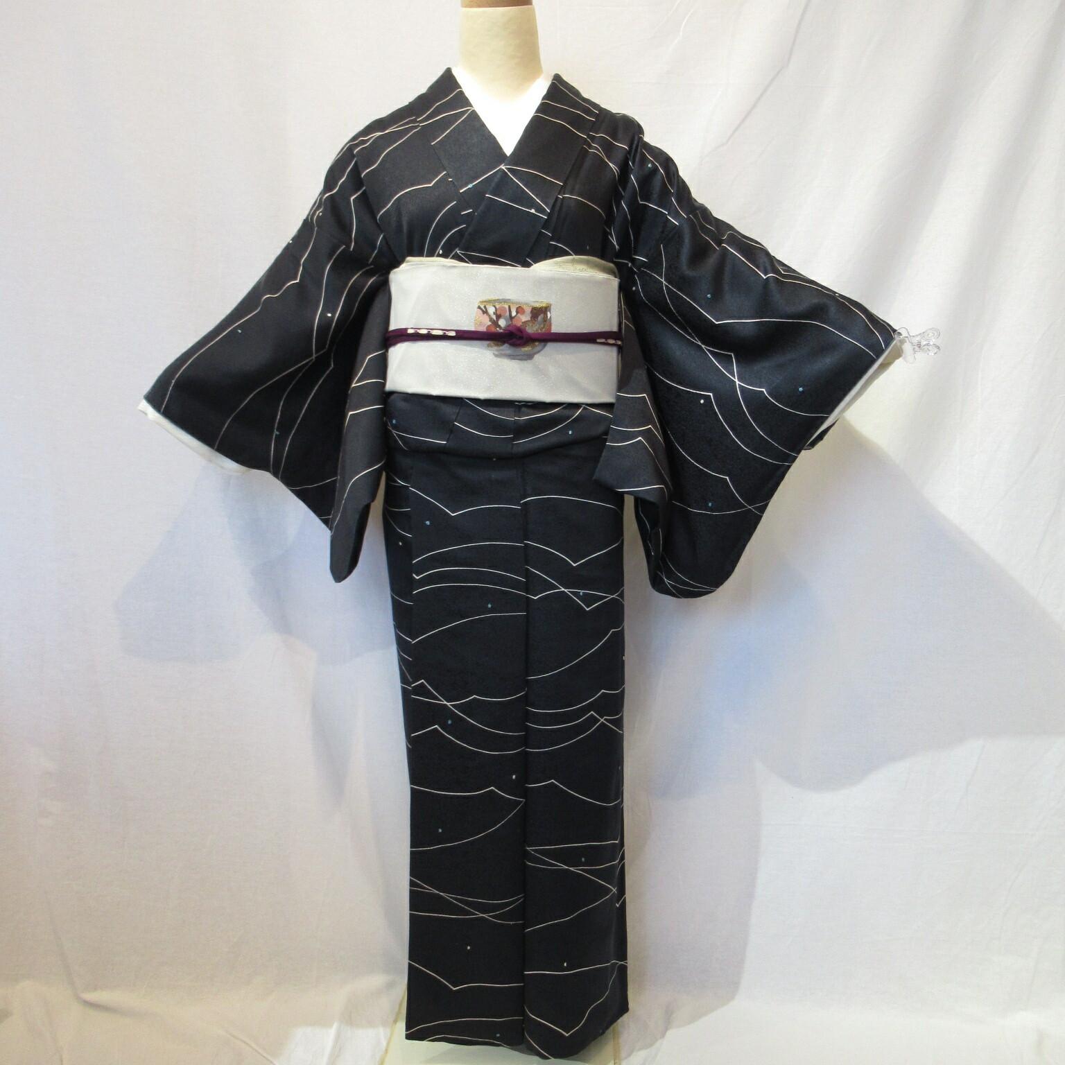 黒絞り小紋1442と綴れ織袋帯4点セット