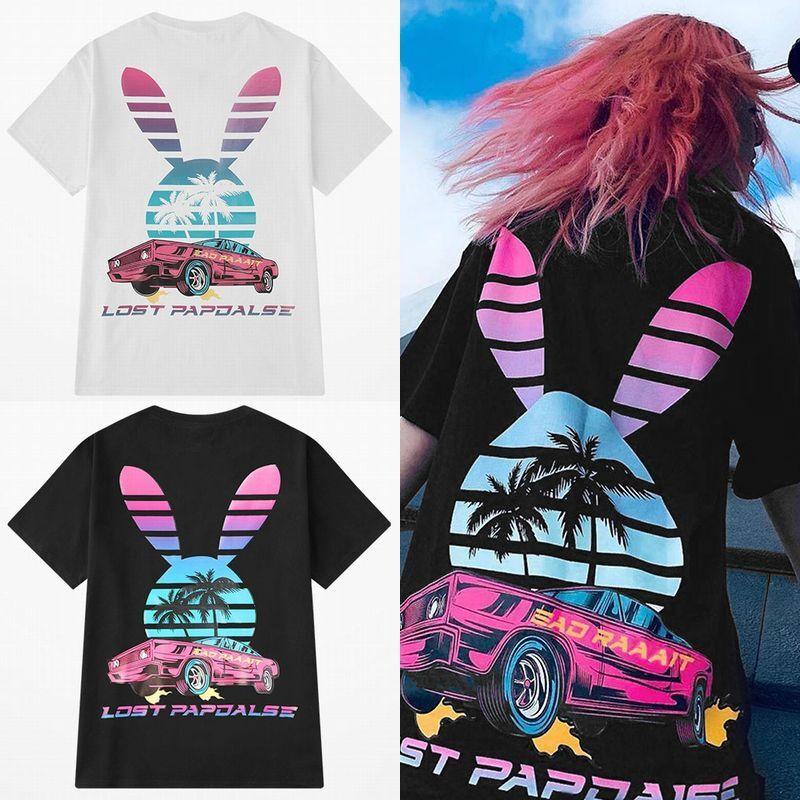 ユニセックス 半袖 Tシャツ メンズ レディース うさぎモチーフ 英字 ヤシの木 車 プリント オーバーサイズ 大きいサイズ ルーズ ストリート