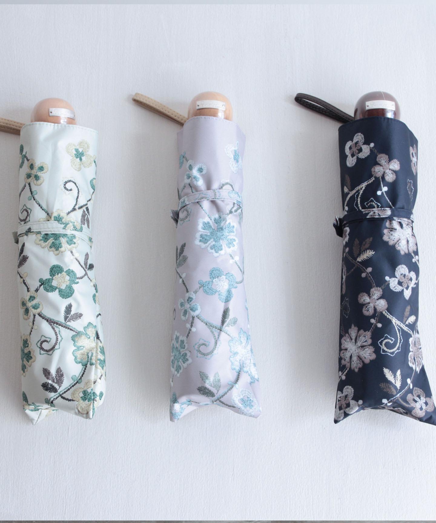 【花壁刺繍プリント】雨天兼用日傘(折りたたみ) (ELS45/ペールグリーン・ライトグレー・ネイビー)