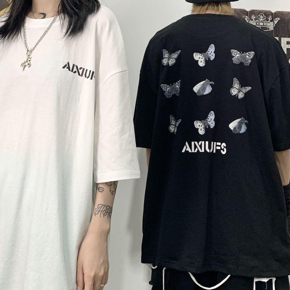 ユニセックス Tシャツ 半袖 メンズ レディース ラウンドネック バタフライ 蝶 プリント オーバーサイズ 大きいサイズ ルーズ ストリート