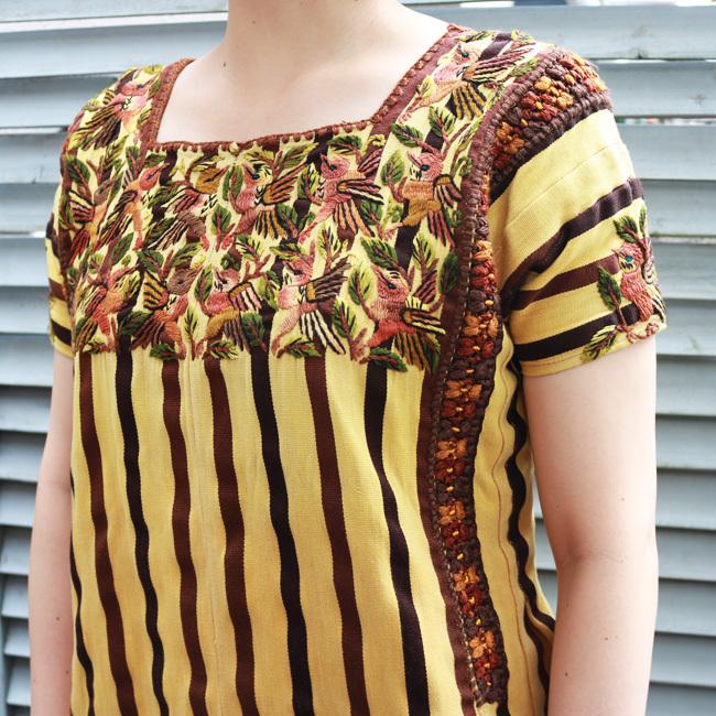 鳥の刺繍ウィピル/118/ GUATEMALA グアテマラ