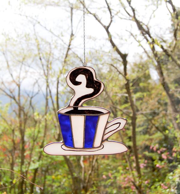 コーヒーショップ(ステンドグラスのウィンドーオーナメント) 02090006