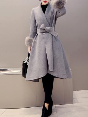 【アウター】秋冬ファッション無地切り替え長袖コート