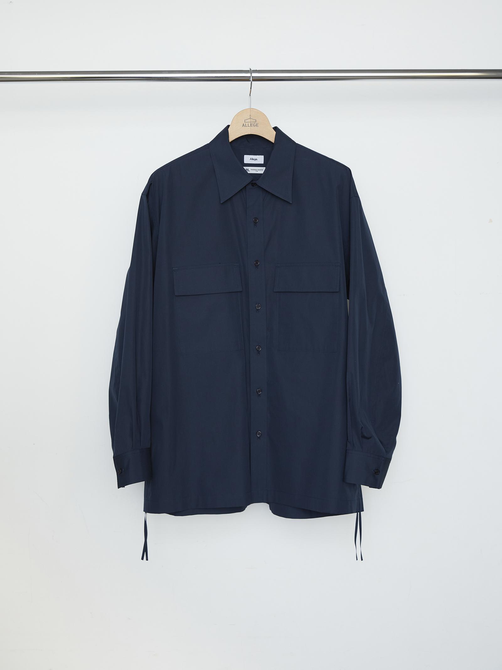 W Pocket Gather Shirt - NAVY