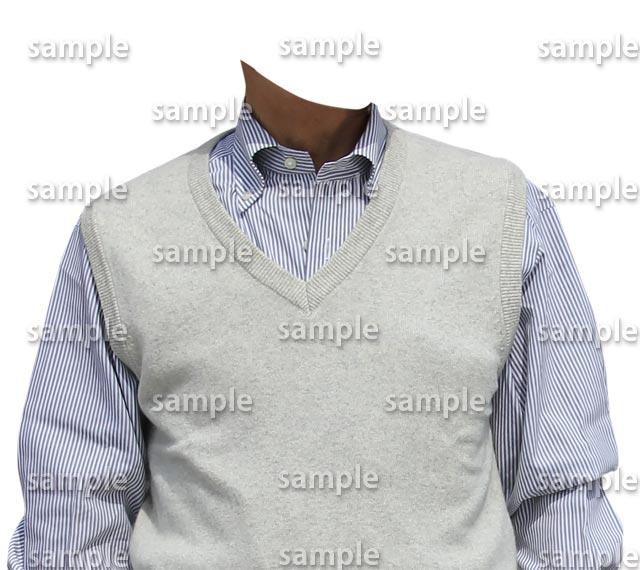 男性白ベスト水色シャツ正面