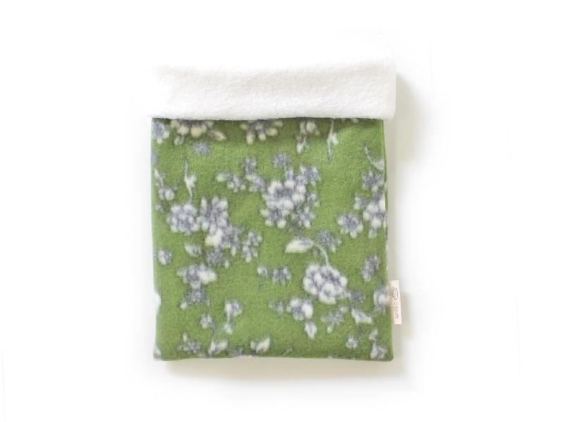 ハリネズミ用寝袋 M(冬用) フリース×フリース 芍薬 緑