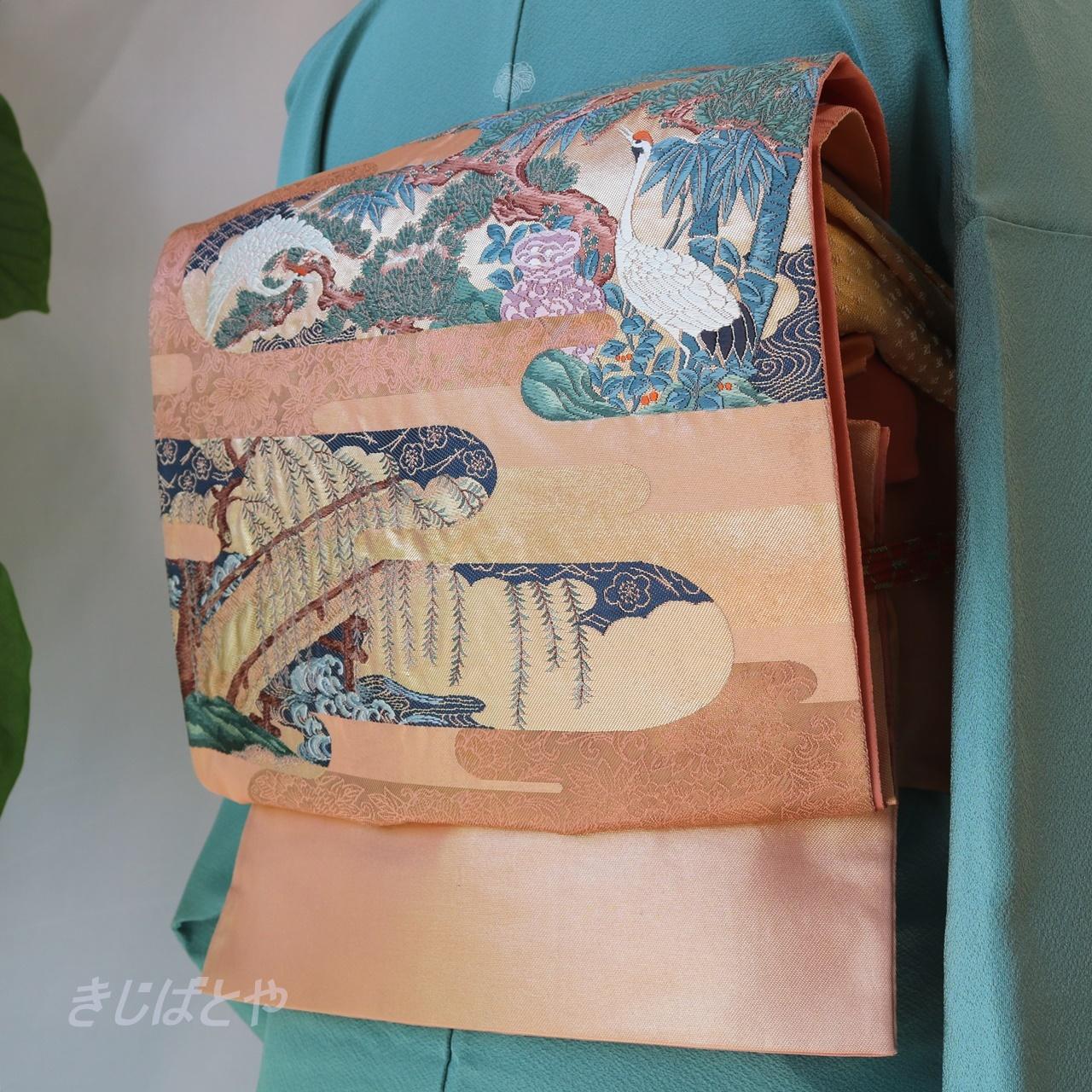 正絹 東雲色に鶴の袋帯
