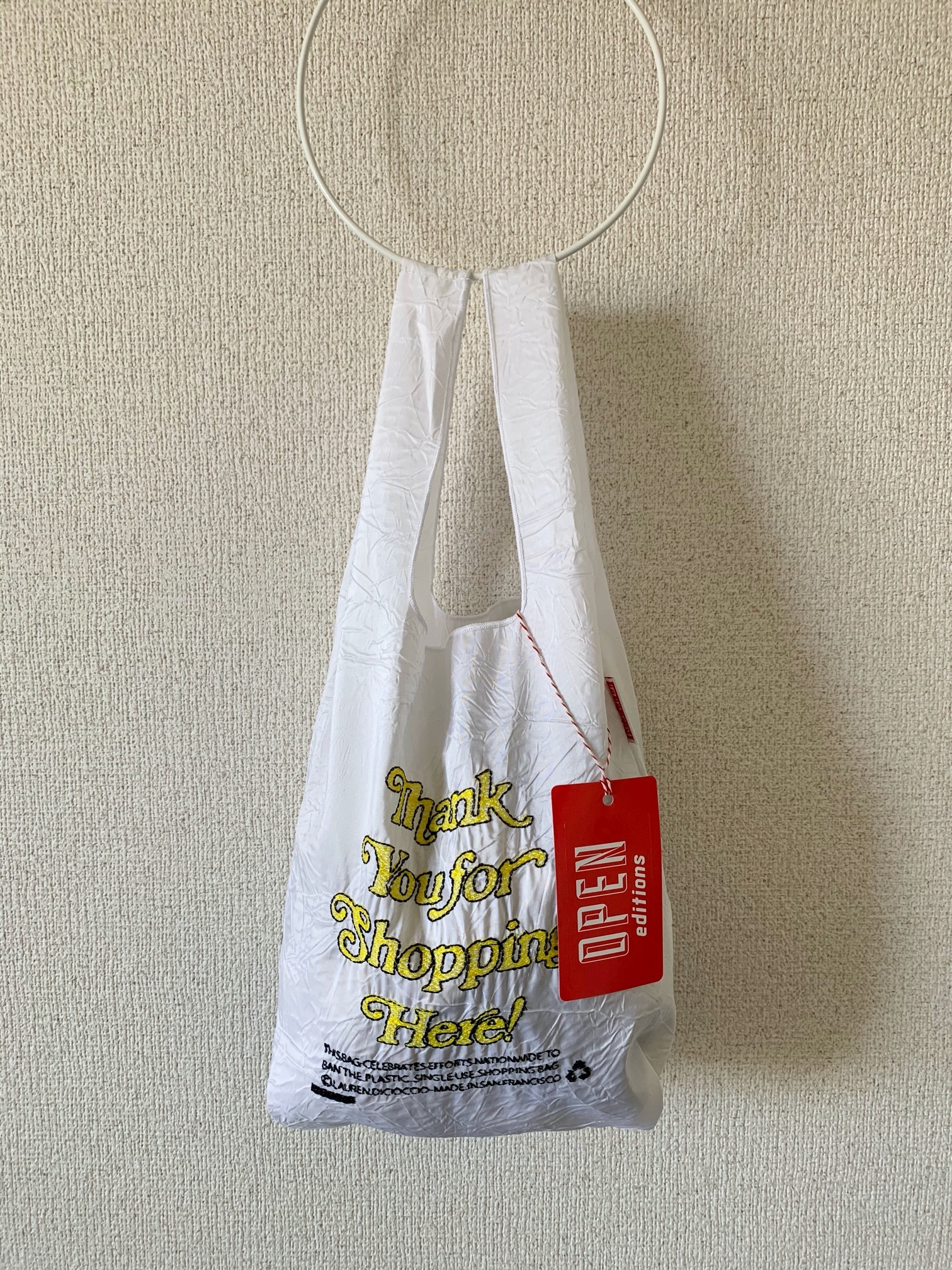 【OPEN EDITIONS】THANK YOU MINI エコバッグ/ THANK YOU FOR SHOPPING HERE White