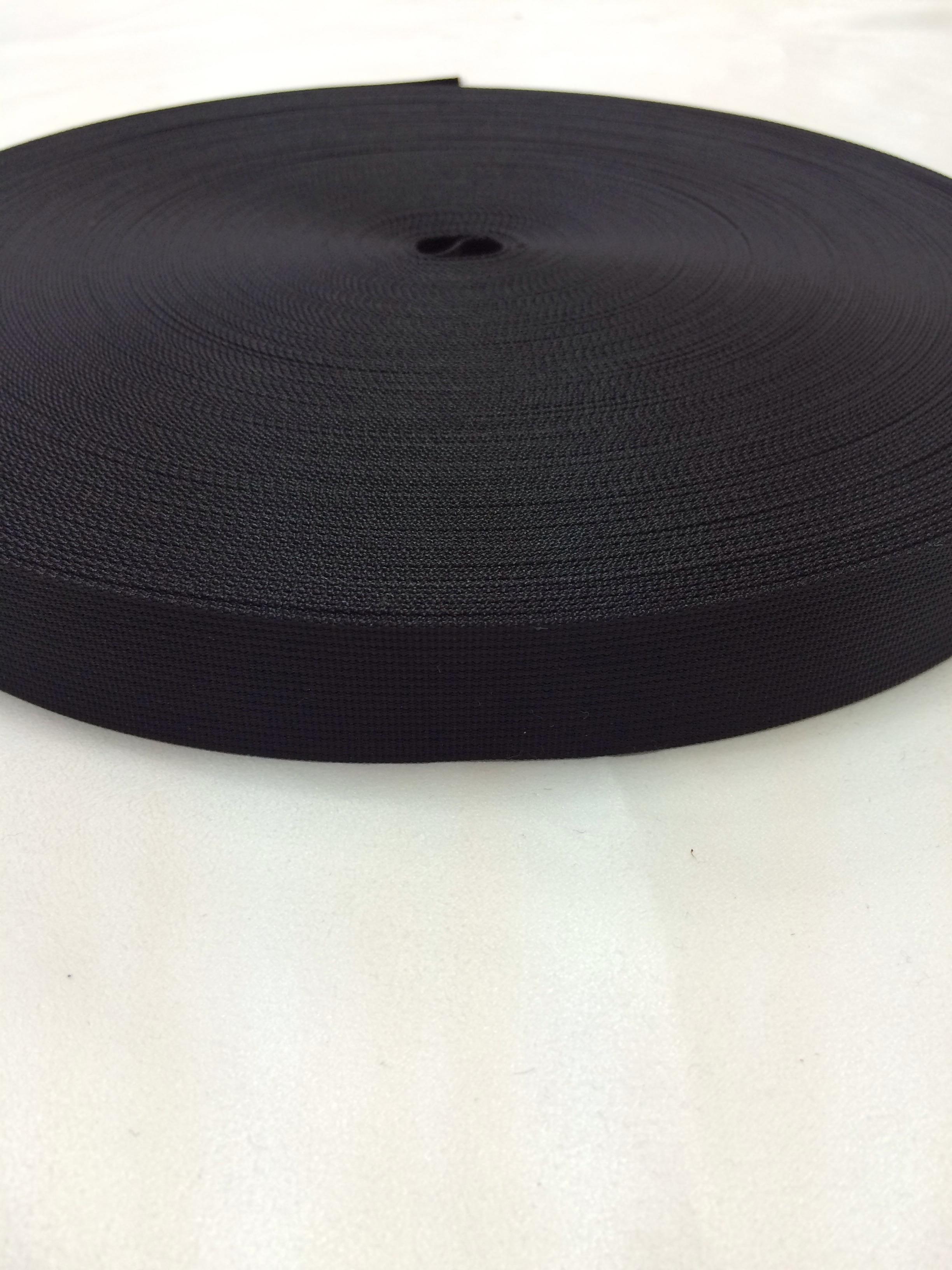 リュックのヒモやザックのヒモに最適な ナイロン ベルト 高密度 25mm幅 1mm厚 黒 50m巻1反