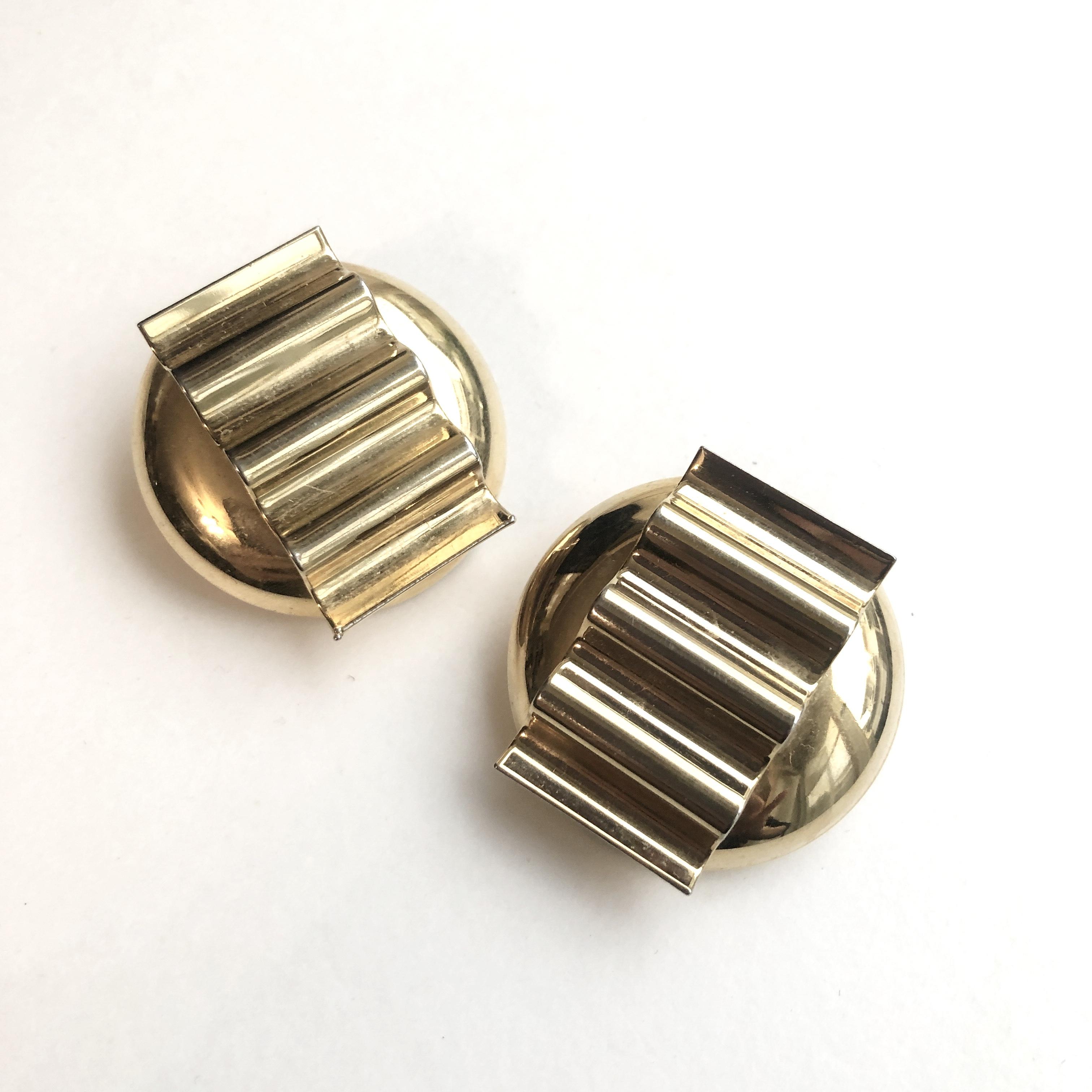 Wave plate Vintage earrings B-064x