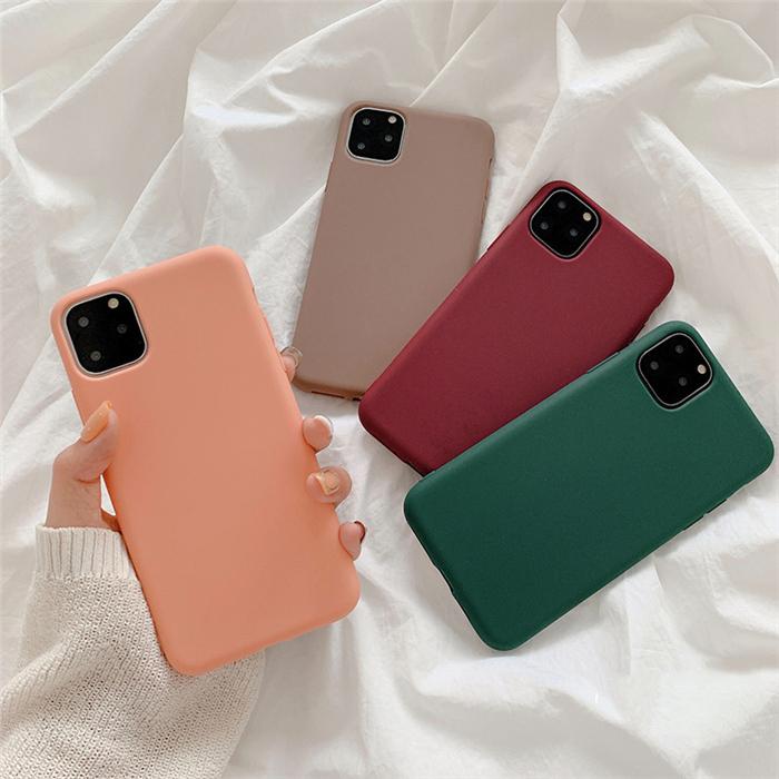 【お取り寄せ商品、送料無料】4カラー シンプル 無地 ソフト iPhoneケース iPhone11