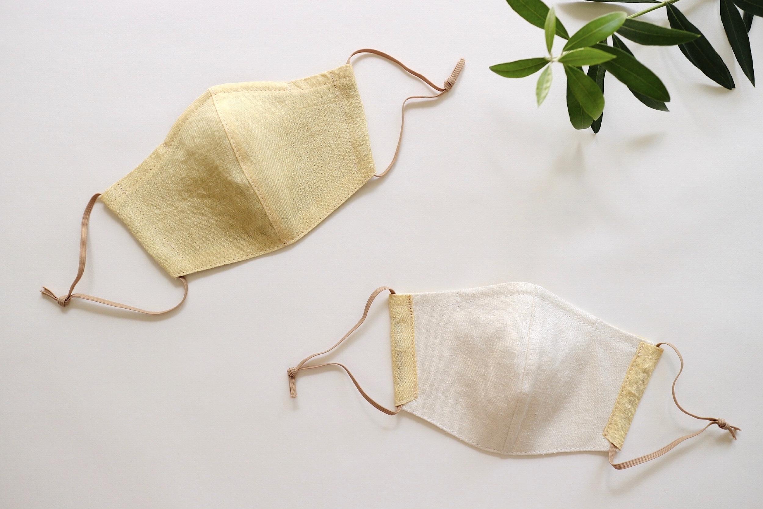 リネンのカラーマスク(リバーシブル) クリームイエロー × シルクリネンオフホワイト 1枚