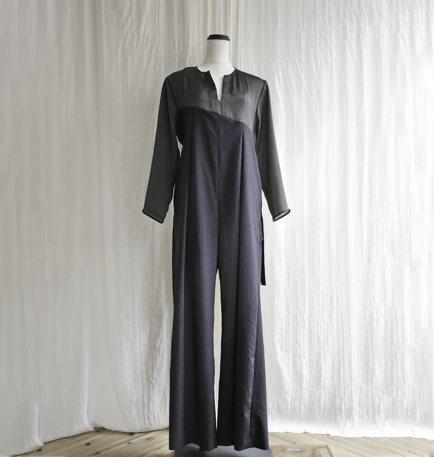ORGANZA TAFFETA JUMPSUIT  / D,BROWN×BLACK