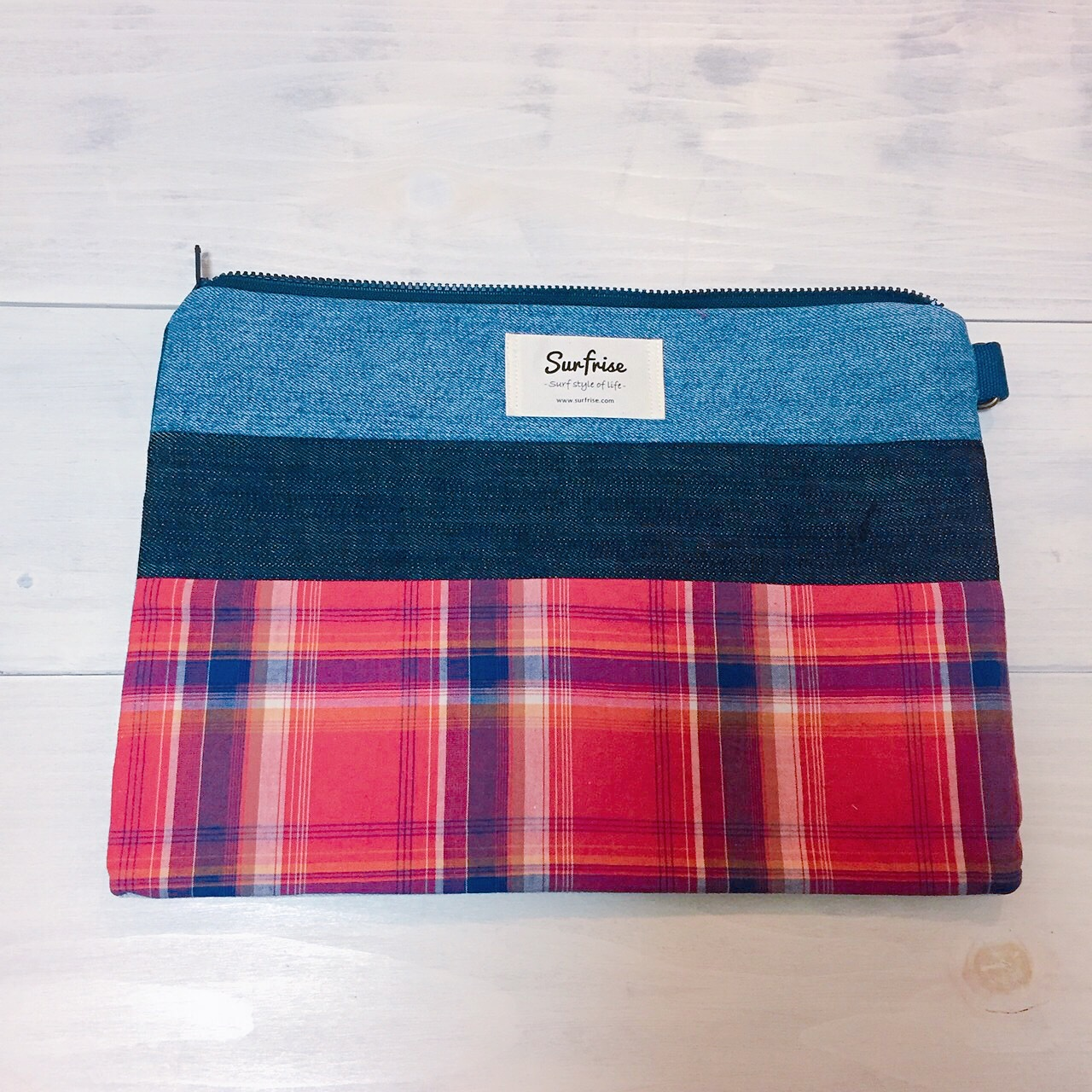 Denim clutch bag Check7(Red)