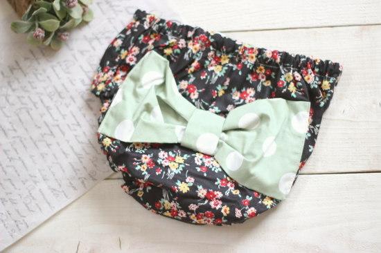 オーバーパンツ*YUWA花柄ブーケブラック グリーンドット/mihana