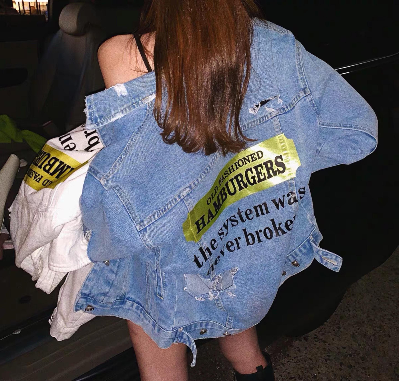 gold sticker denim jacket