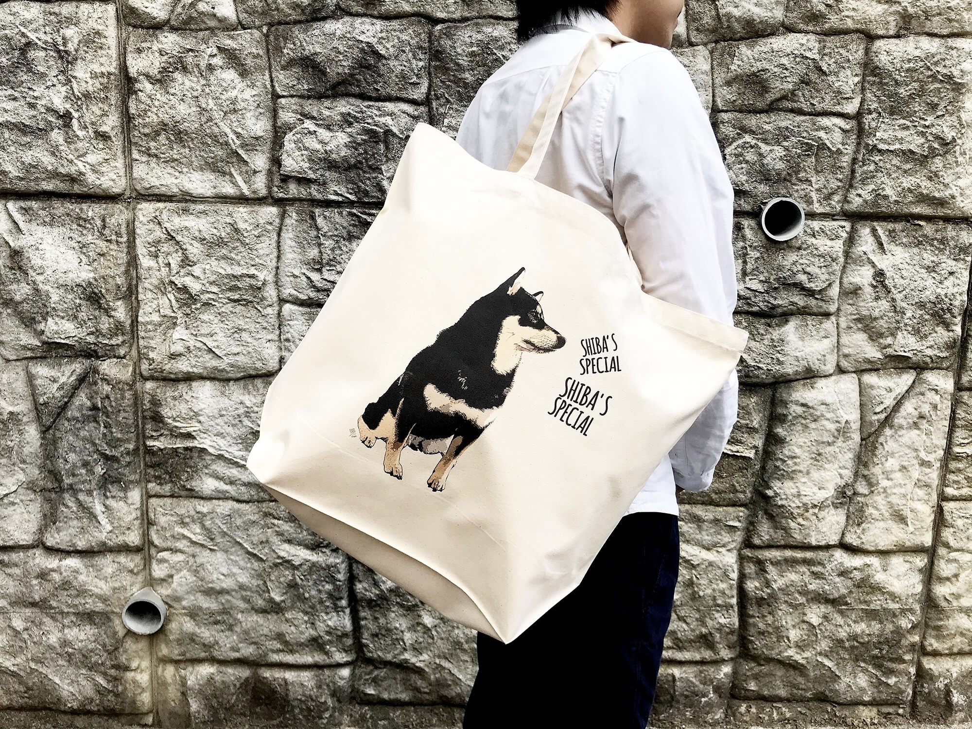 【再入荷準備中】ビッグサイズな柴犬トートバッグ<復刻!! 黒柴デザイン>