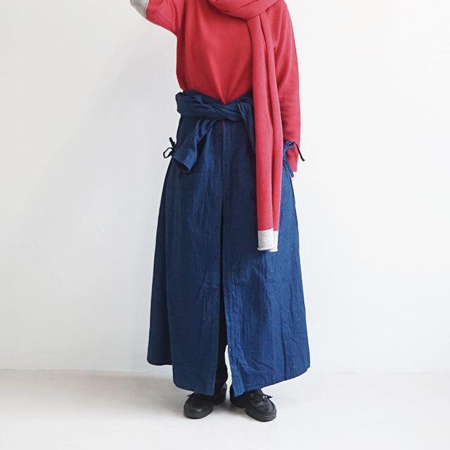 ichi イチ インディゴ起毛ヘリンボンワンピース (品番190705)