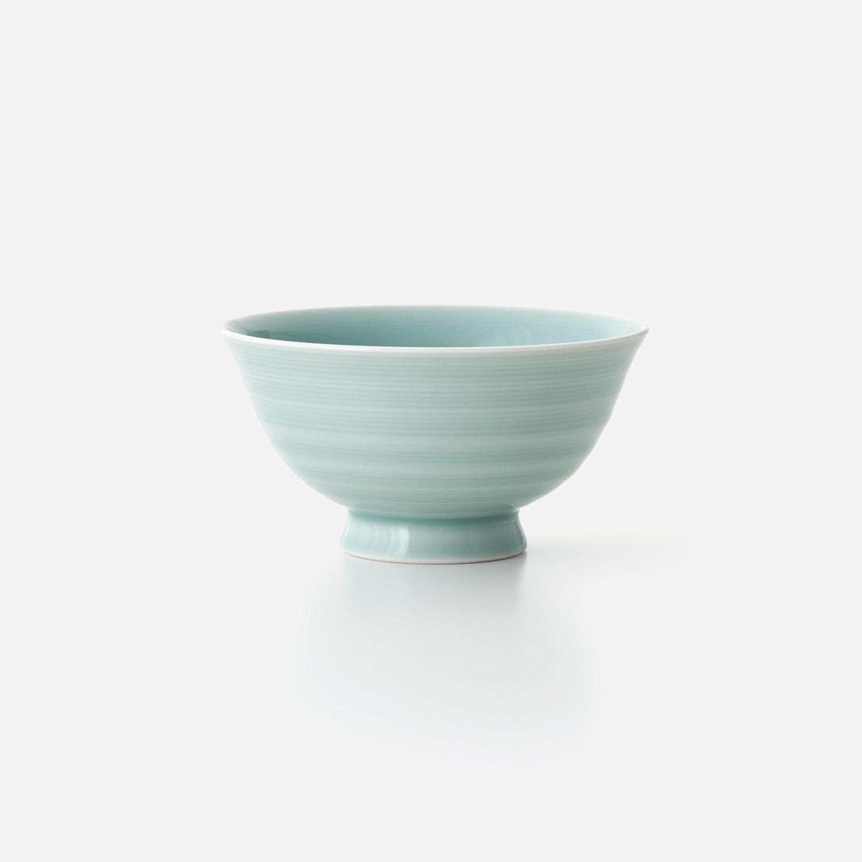 青磁 線彫り飯碗(大)