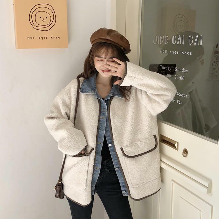【送料無料】重ね着風 ボアジャケット ♡ Gジャン カジュアル 大人可愛い オーバーサイズ  羽織り コート アウター