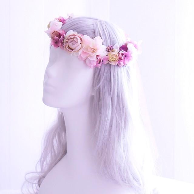 〖 オーダーメイド花冠 〗アーティフィシャルフラワー・造花の花冠リボンタイプ