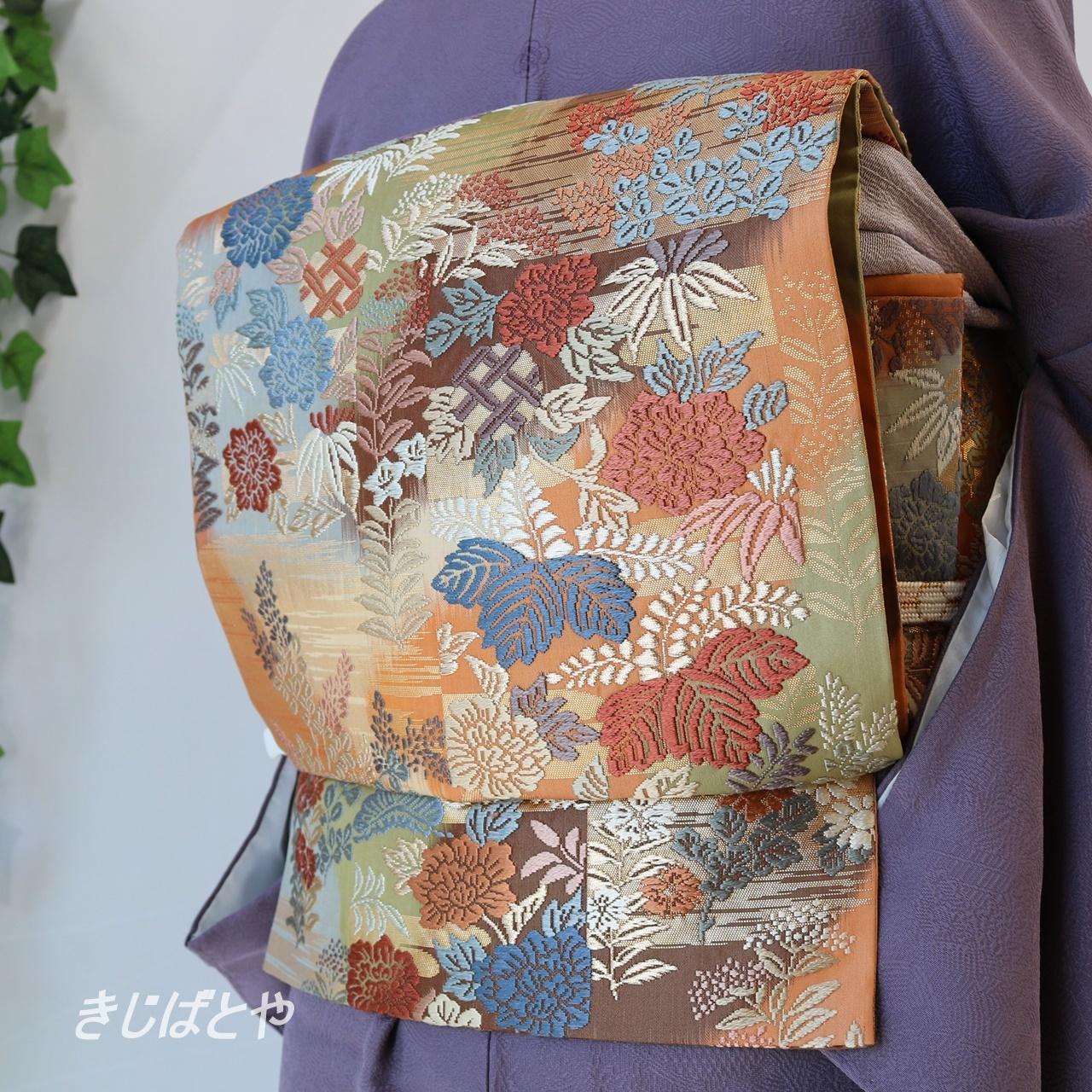 正絹 季節の花々の唐織の袋帯