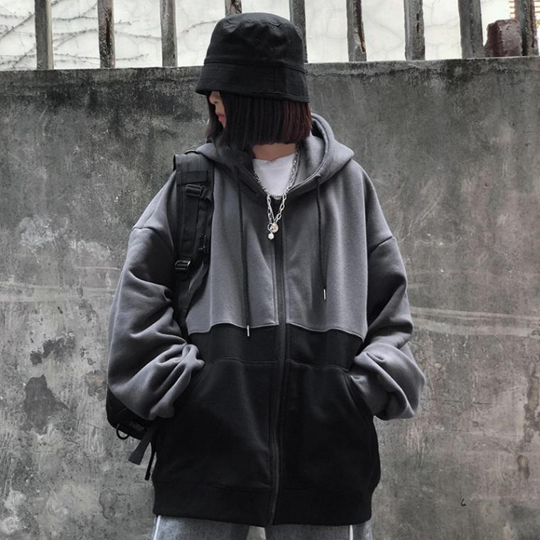 【送料無料】 クールなブラックコーデ♡ メンズライク ゆるだぼ フード付き ジップ パーカー バイカラー オーバーサイズ
