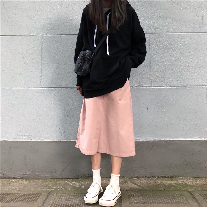 【送料無料】ゆったりラフな雰囲気♡ミモレ丈 スカート Aライン 台形 シンプル カジュアル 上品