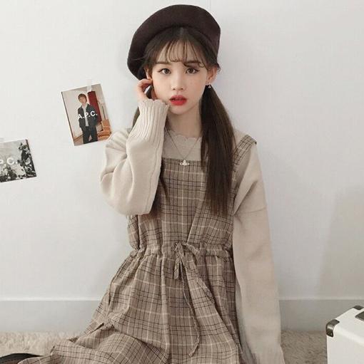 【送料無料】今季トレンド✩チェック柄ロング丈ジャンスカ