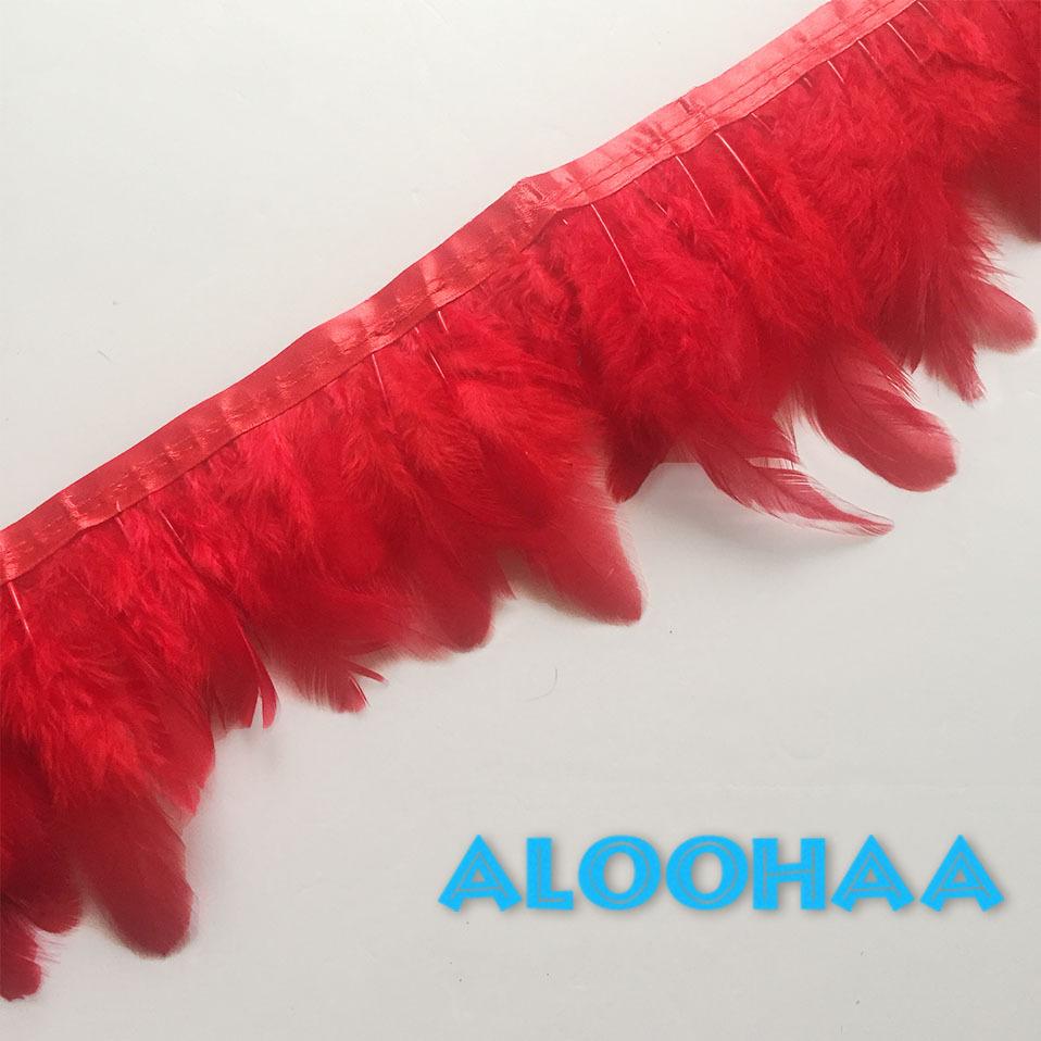 フェザーロール【赤】7-12cm丈 1m DIY 羽 衣装材料 タヒチアン