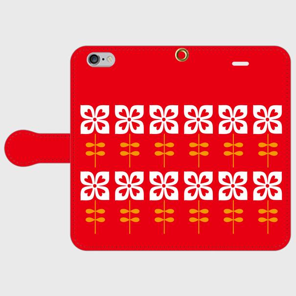 昭和デザイン花(赤・2)iPhoneスマホケース(手帳型ケース)