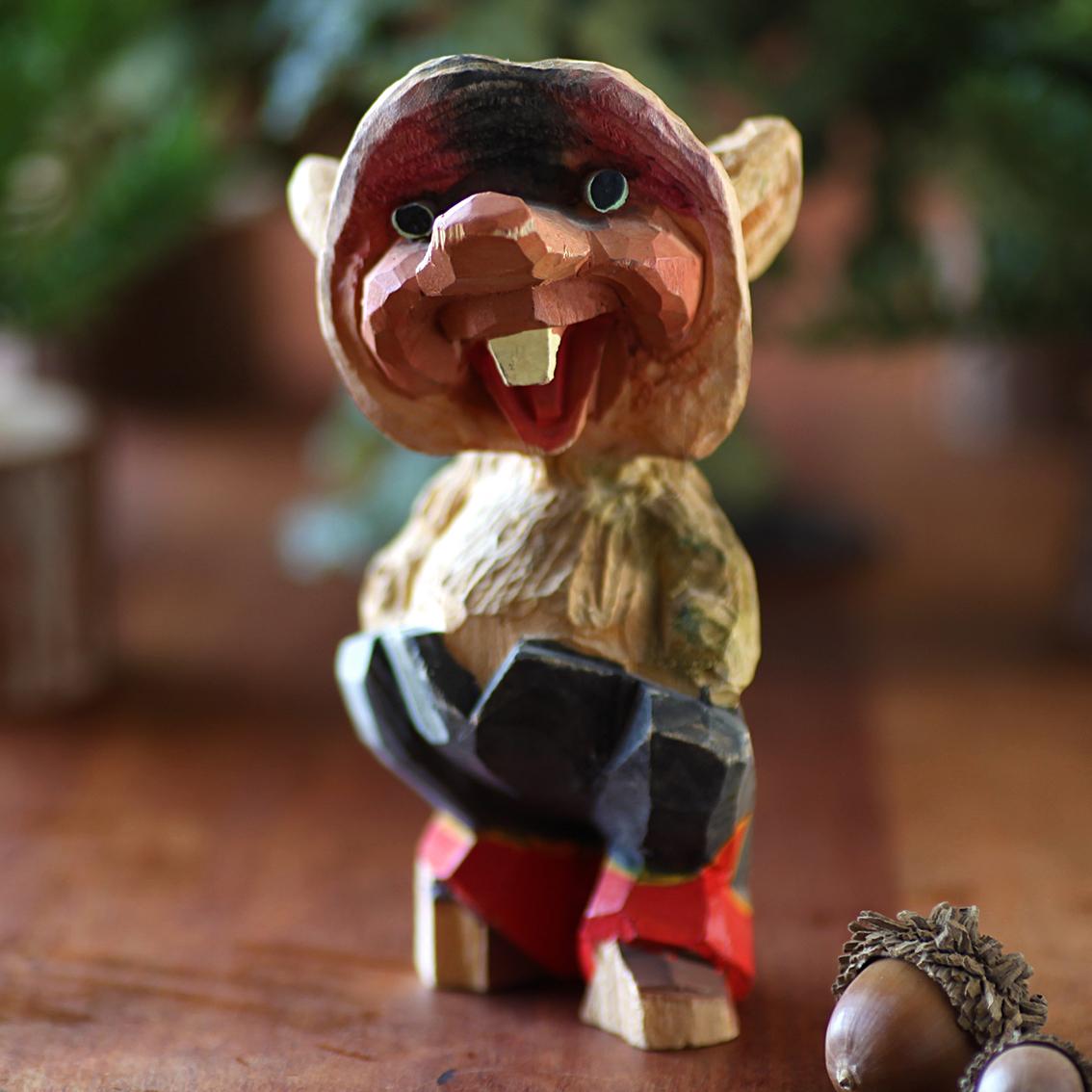 Henning ヘニング Troll トロール 木彫り人形-2 北欧ヴィンテージ