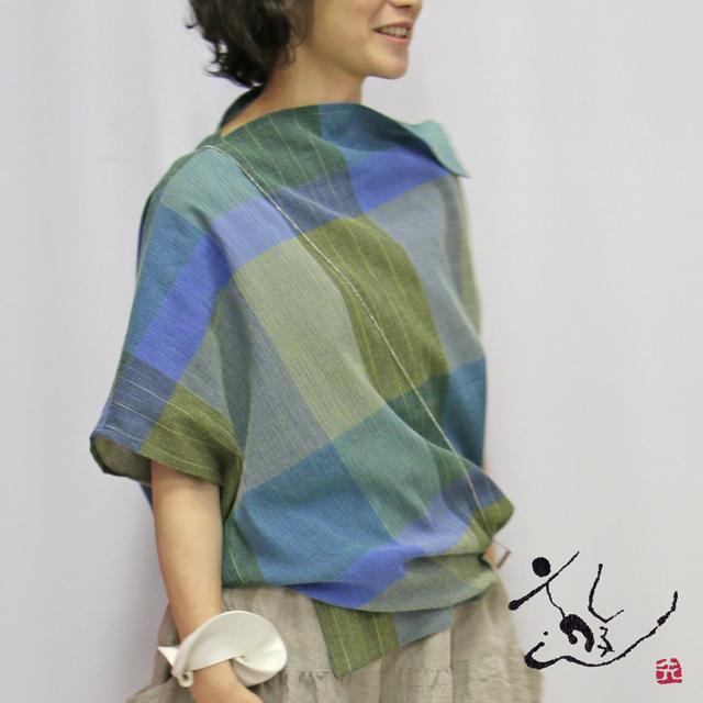 楊柳チェックヤッコブラウス(057-3318)