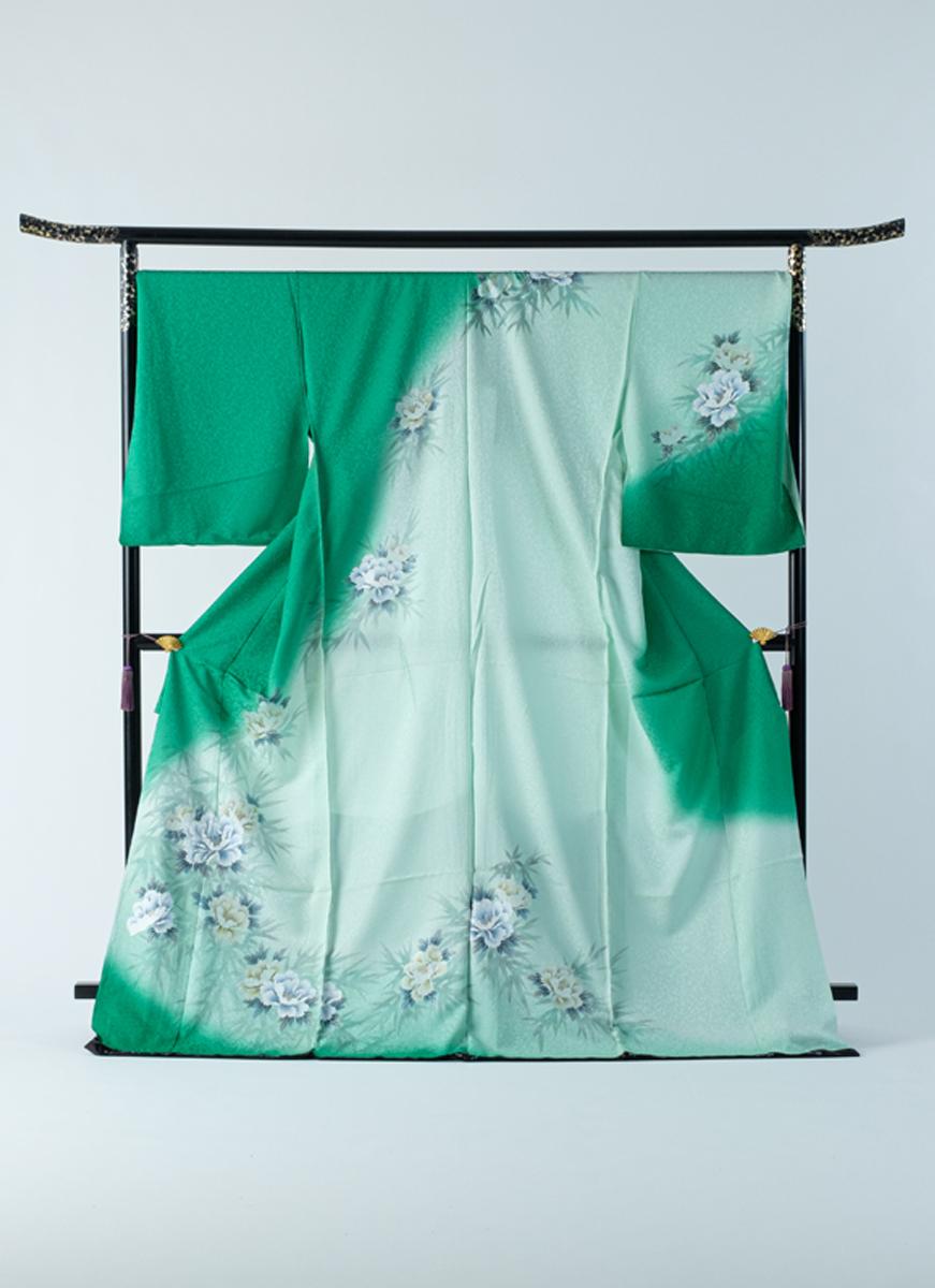 訪問着 緑 金彩 太田洋 ぼかし染 友禅染 フォーマル 冠婚葬祭やパーティに