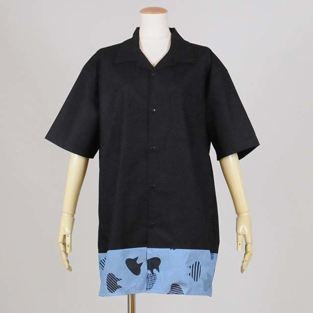 ビッグオープンカラーシャツ BK-BL