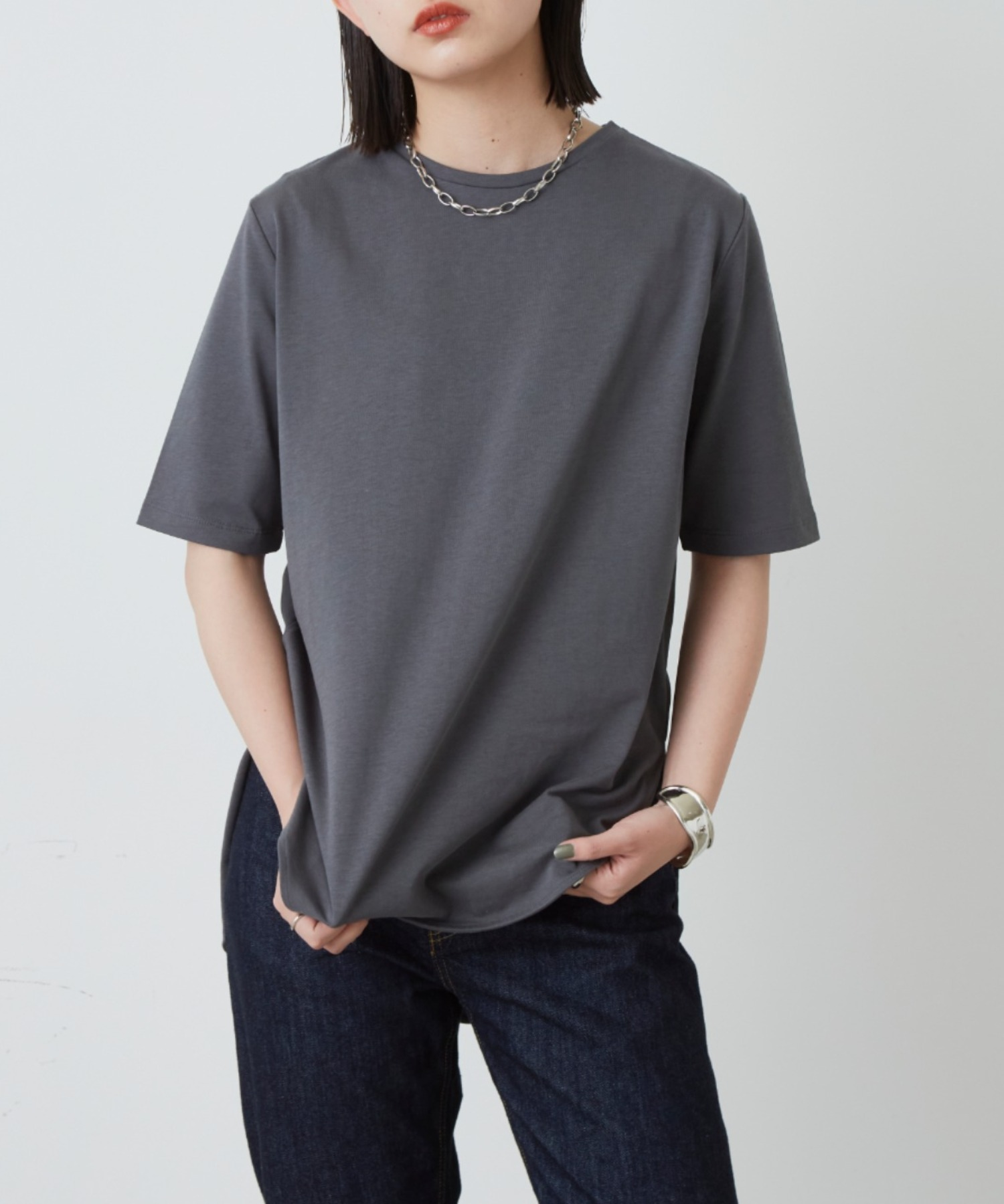 裾ラウンドスリットビッグTシャツ/CGRY