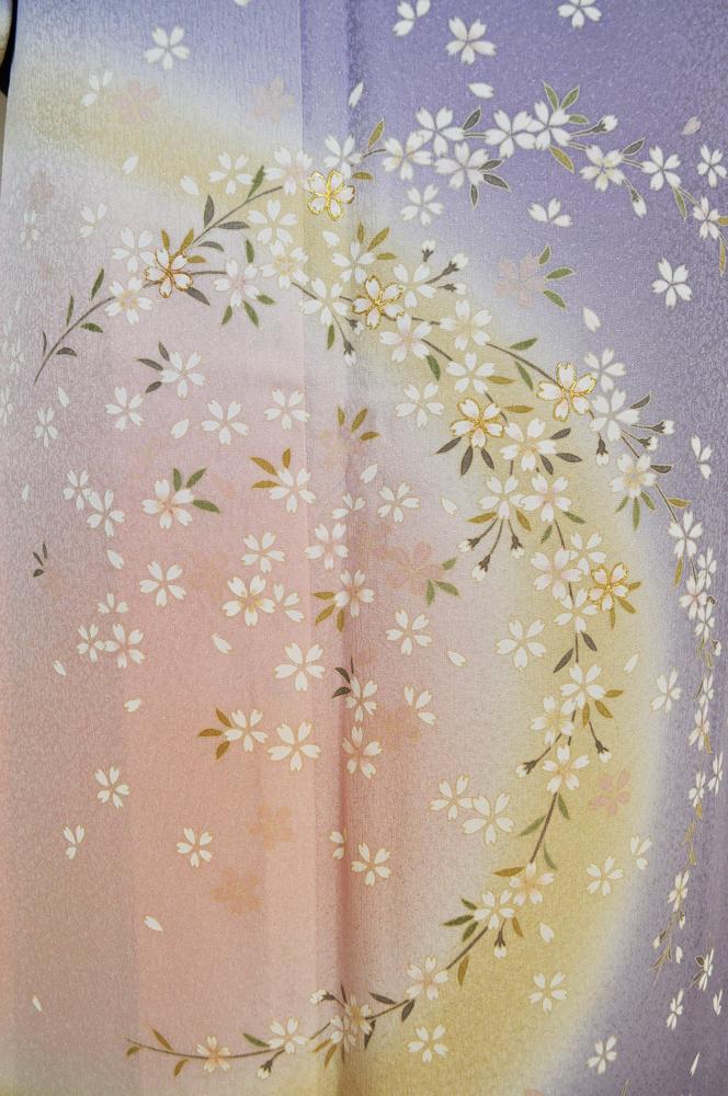 訪問着レンタル■浅紫色地に見頃中央丸く黄と桃ぼかしそして小桜柄■正絹フリーサイズhu3〔往復送料無料〕 - 画像5
