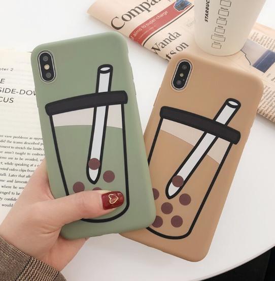 【お取り寄せ商品、送料無料】タピオカモチーフ ヴィンテージカラー iPhoneケース