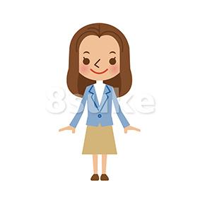 イラスト素材:若い女性(ベクター・JPG)