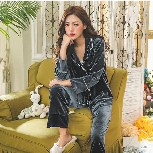 【パジャマ】2点セット無地シンプルカジュアル長袖折り襟シングルブレストパジャマ24813319